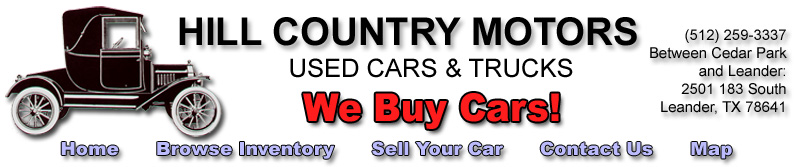 Hill Country Motors website header